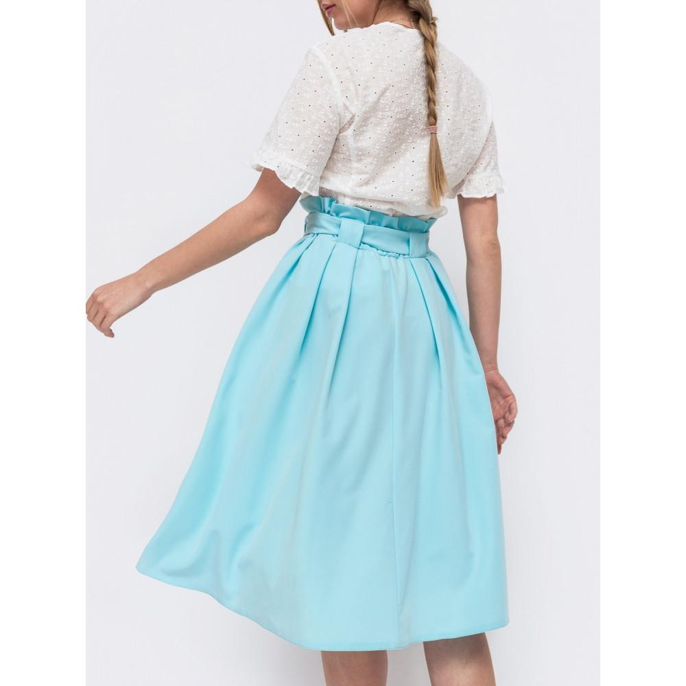 Голубая расклешенная юбка миди  фото 3