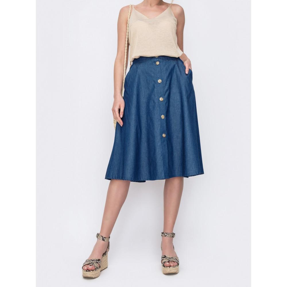 Джинсовая юбка-трапеция фото 1