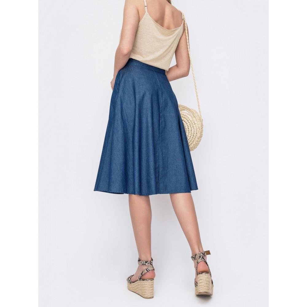 Джинсовая юбка-трапеция фото 2