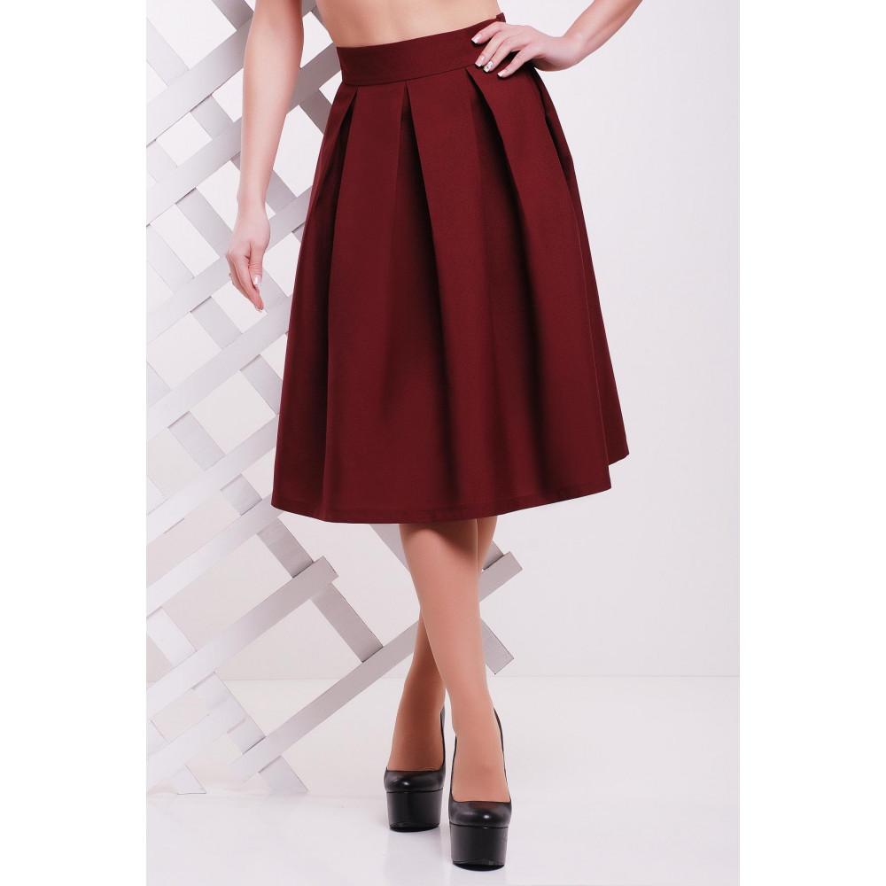 Бордовая юбка с завышенной талией Мелани фото 1