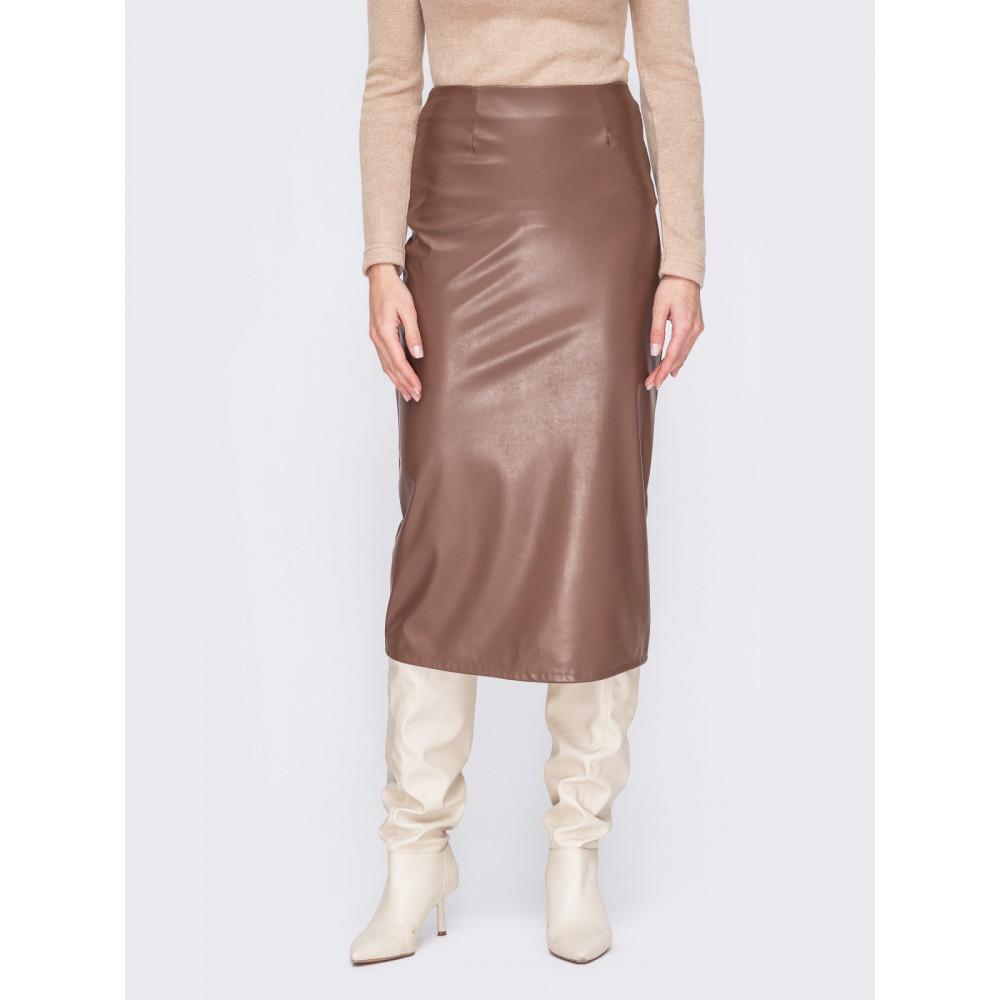 Лаконичная юбка-миди из коричневой эко-кожи фото 1