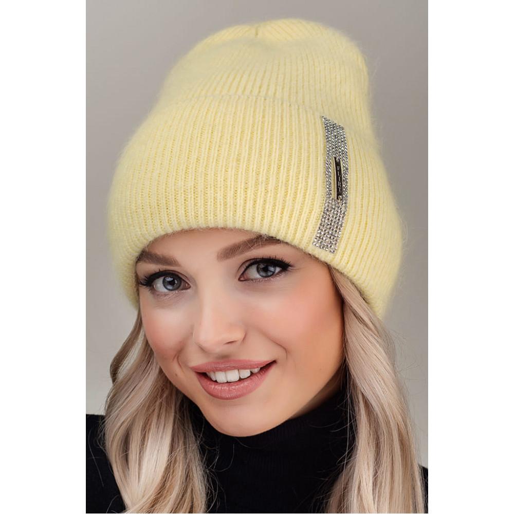 Желтая ангоровая шапка Гламур фото 1