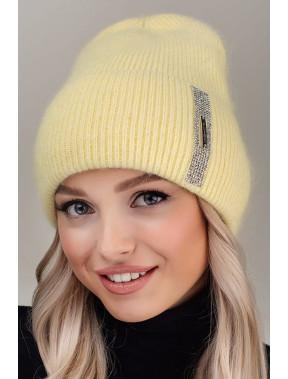 Желтая ангоровая шапка Гламур
