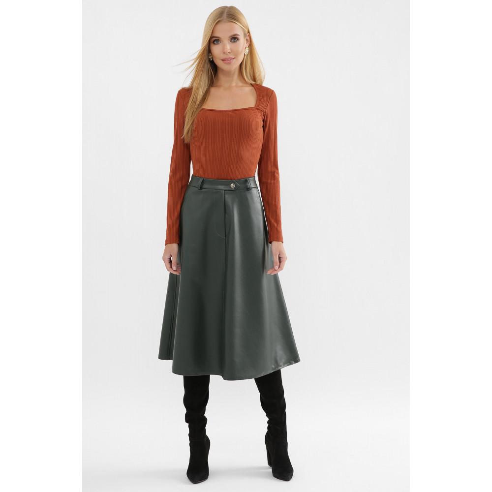 Зеленая юбка-трапеция из экокожи Балма фото 1