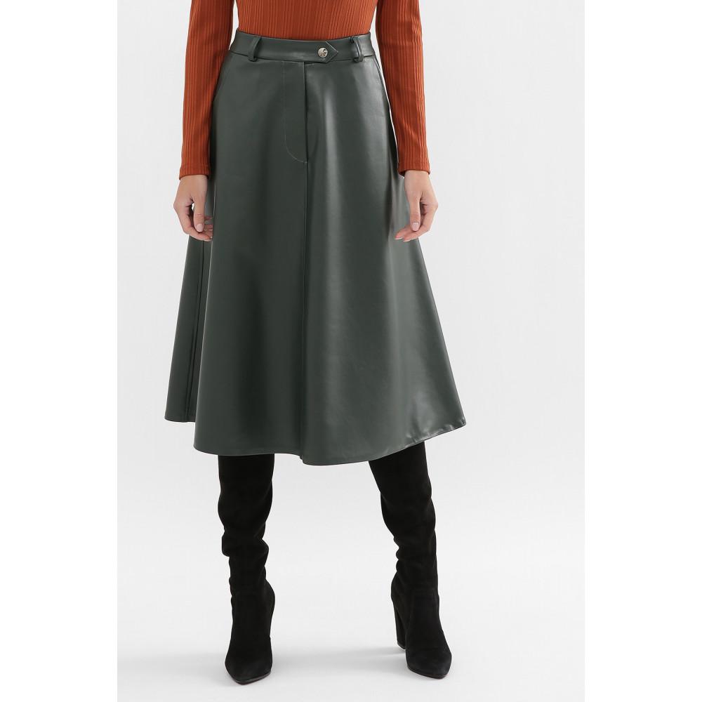 Зеленая юбка-трапеция из экокожи Балма фото 2