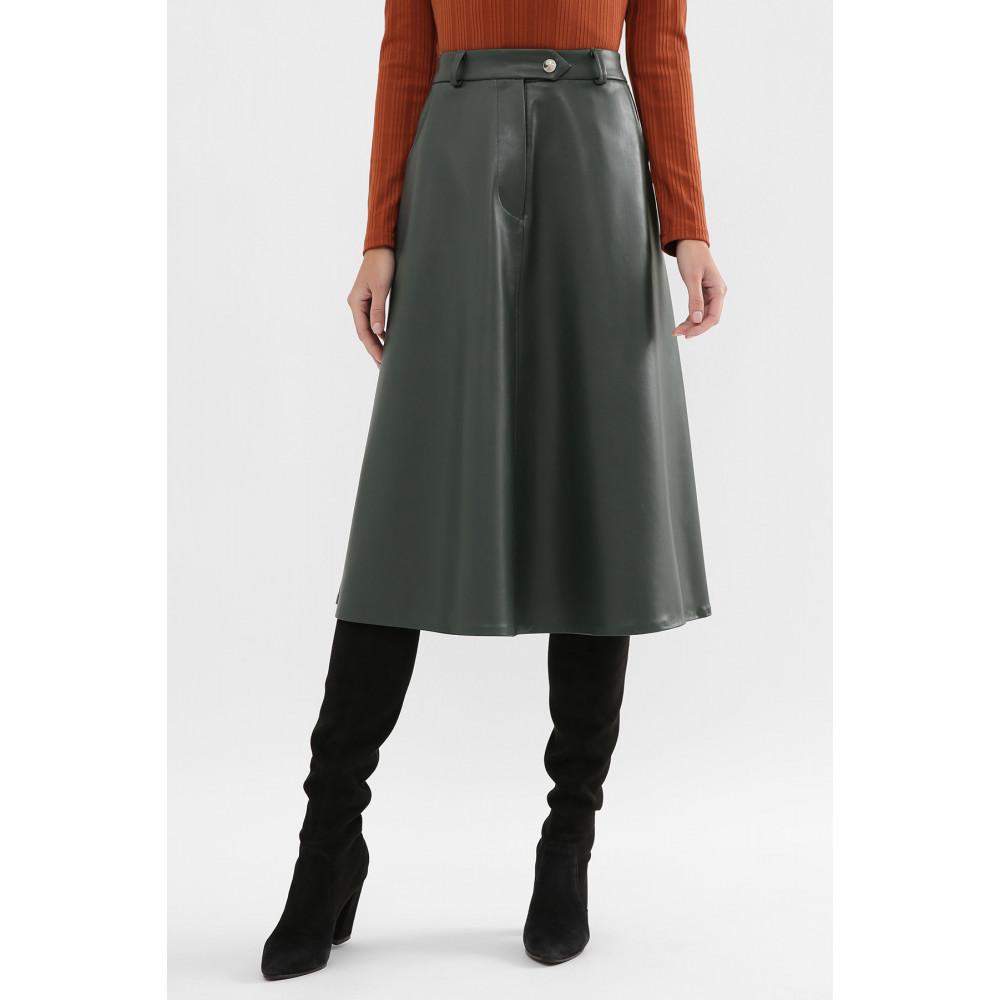 Зеленая юбка-трапеция из экокожи Балма фото 3