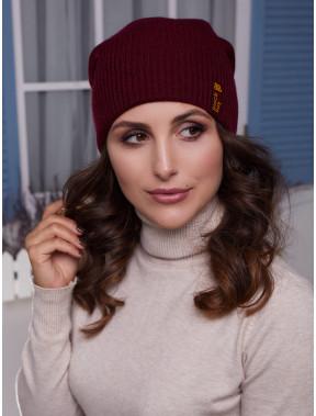 Бордовая вязаная шапка Ванесса
