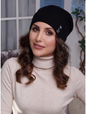 Черная шапка Ванесса с флисом