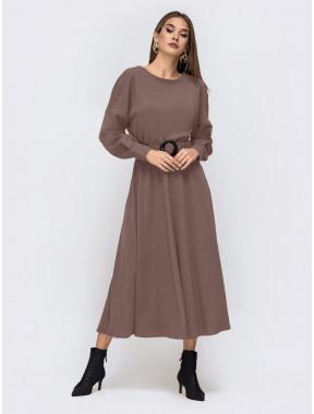Кофейное платье-миди Эльза