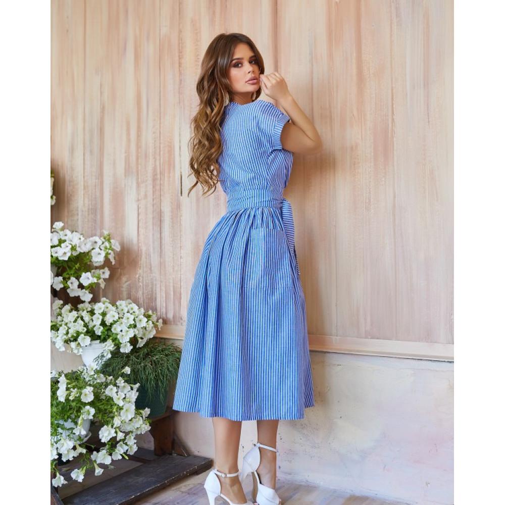 Голубое полосатое платье из льна фото 3