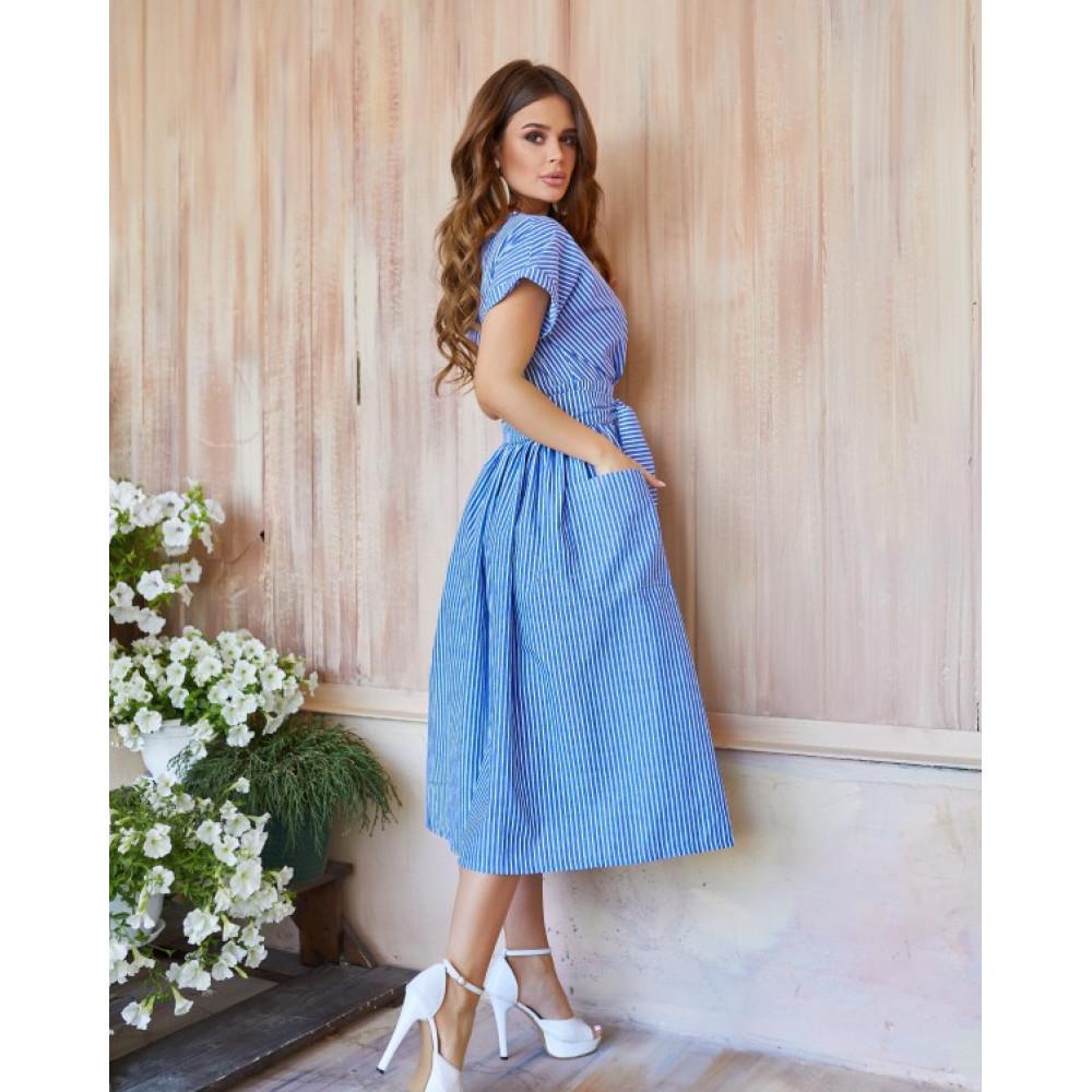 Голубое полосатое платье из льна фото 2