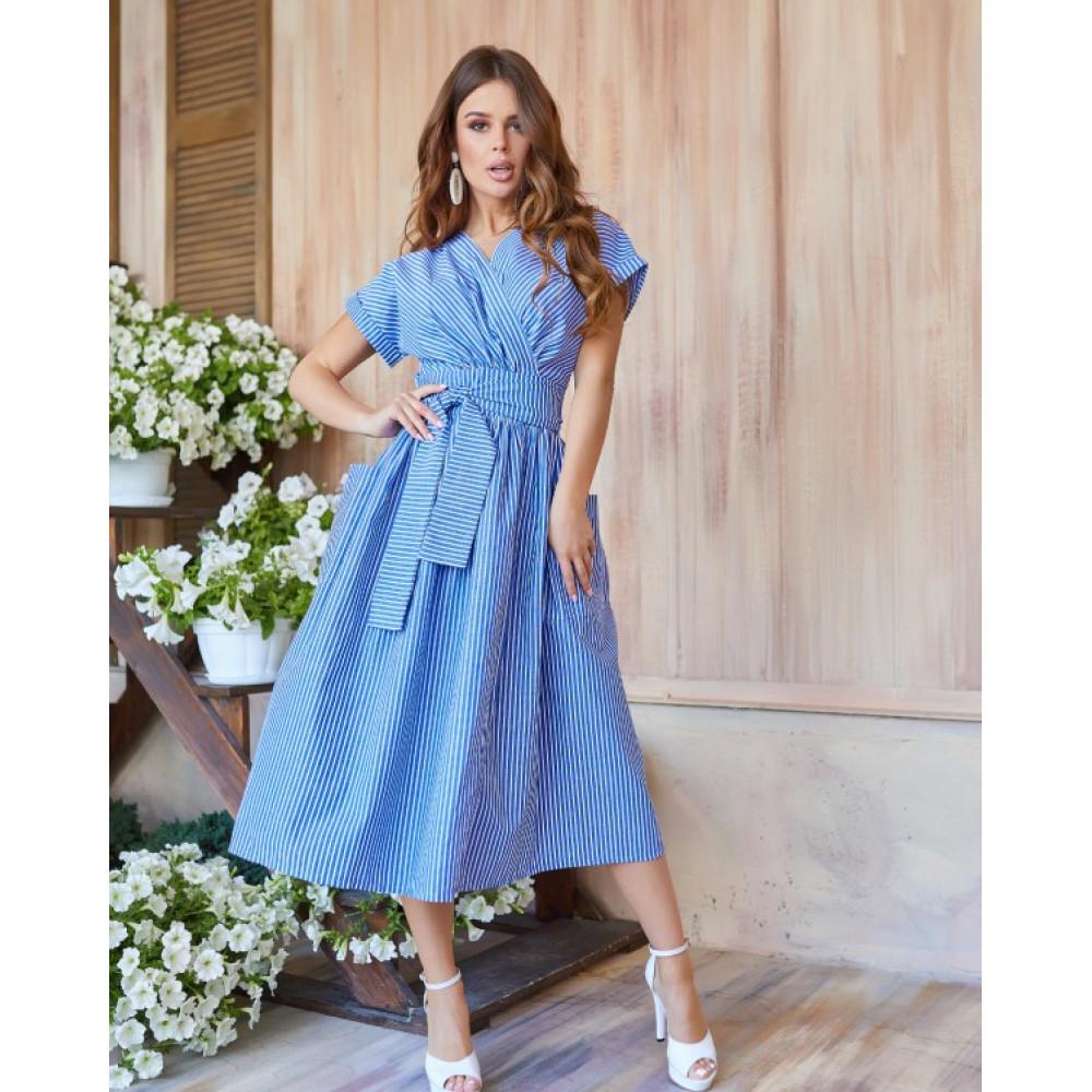 Голубое полосатое платье из льна фото 1