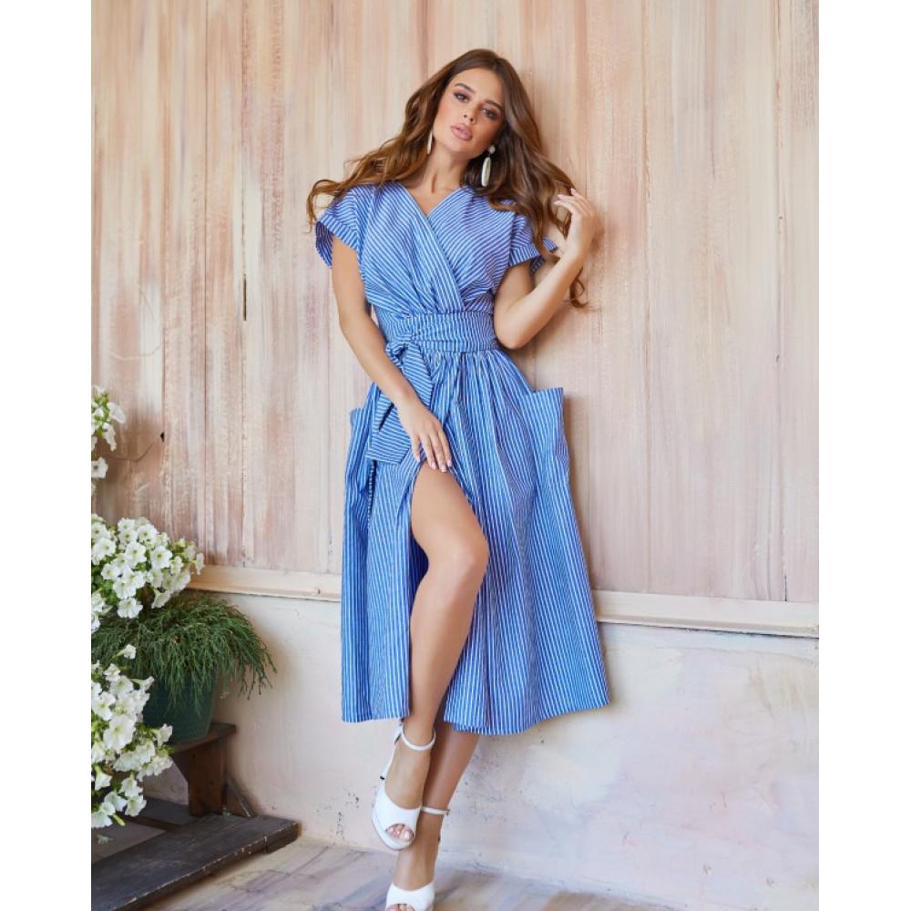Голубое полосатое платье из льна фото 4