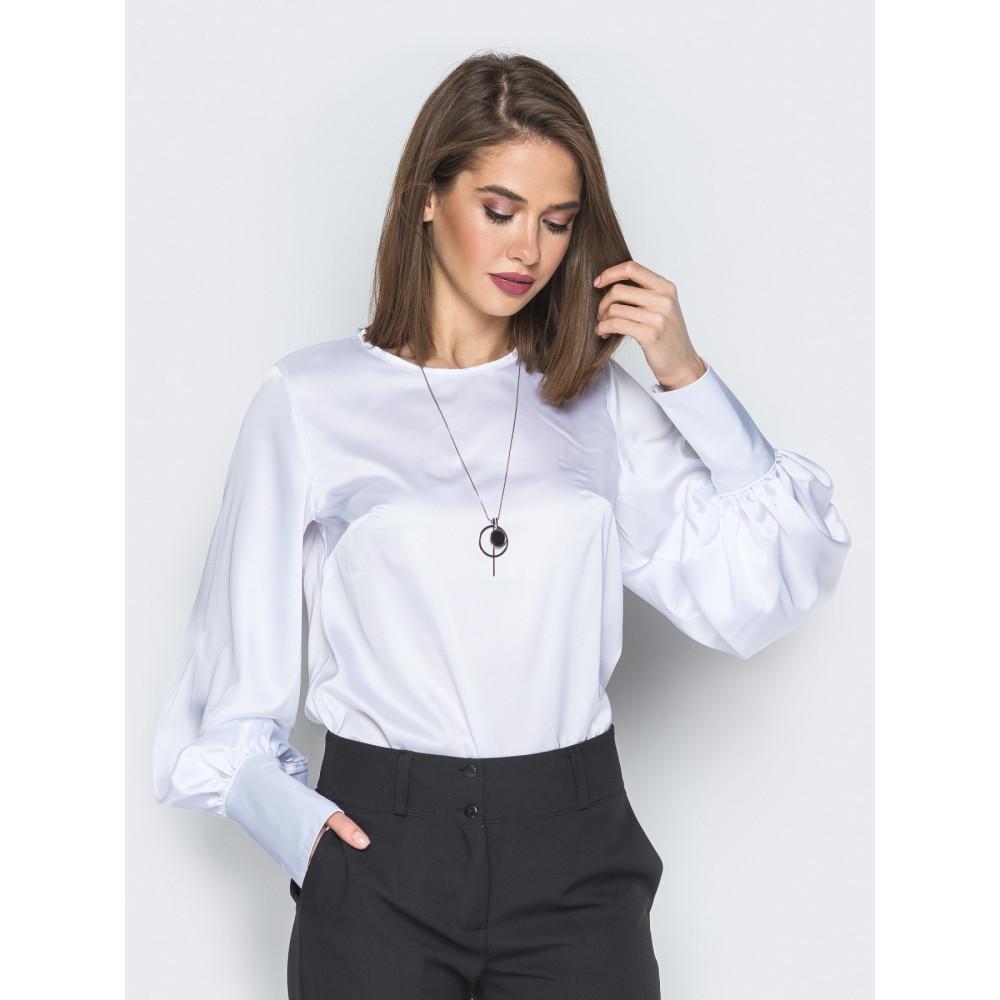 Белая шелковая блузка с высокими манжетами фото 1