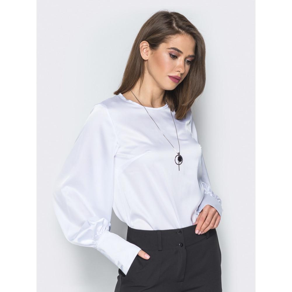 Белая шелковая блузка с высокими манжетами фото 2