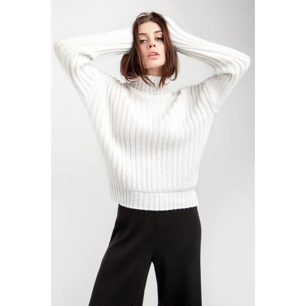 Белый свитер с вертикальным узором фото 5