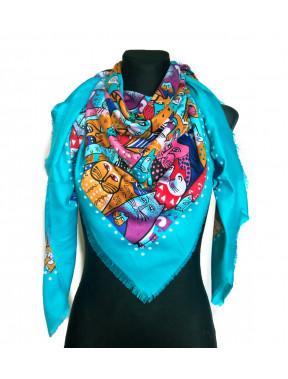 Красивый бирюзовый платок из кашемира Котики