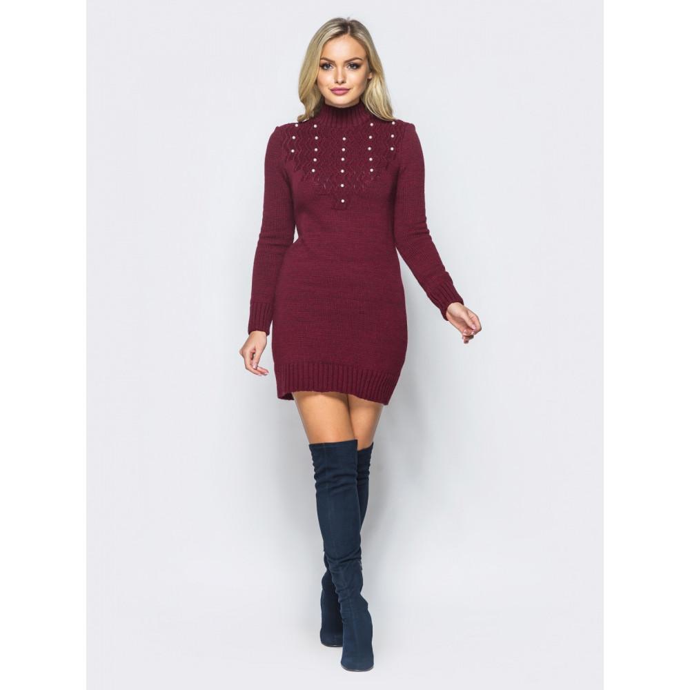 Бордовое вязаное платье Yana  фото 1