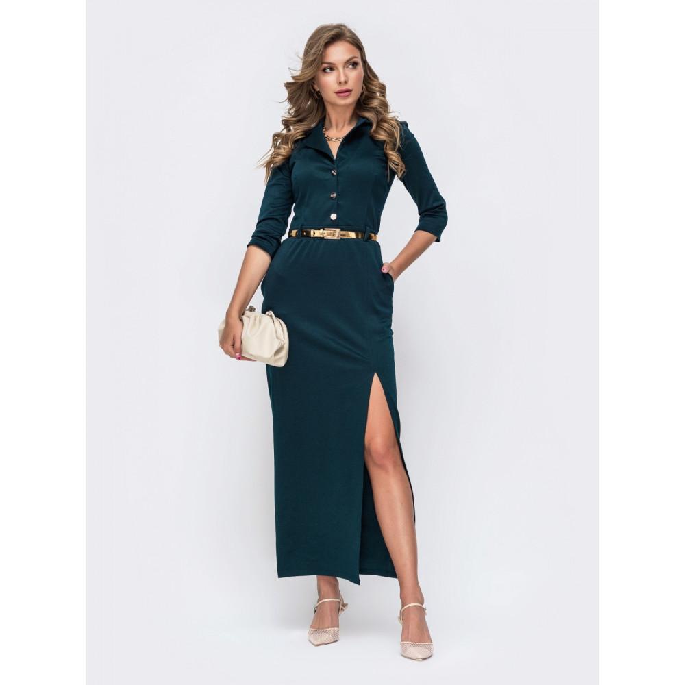 Длинное платье с разрезом на юбке фото 1