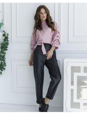 Черные свободные брюки из эко-кожи