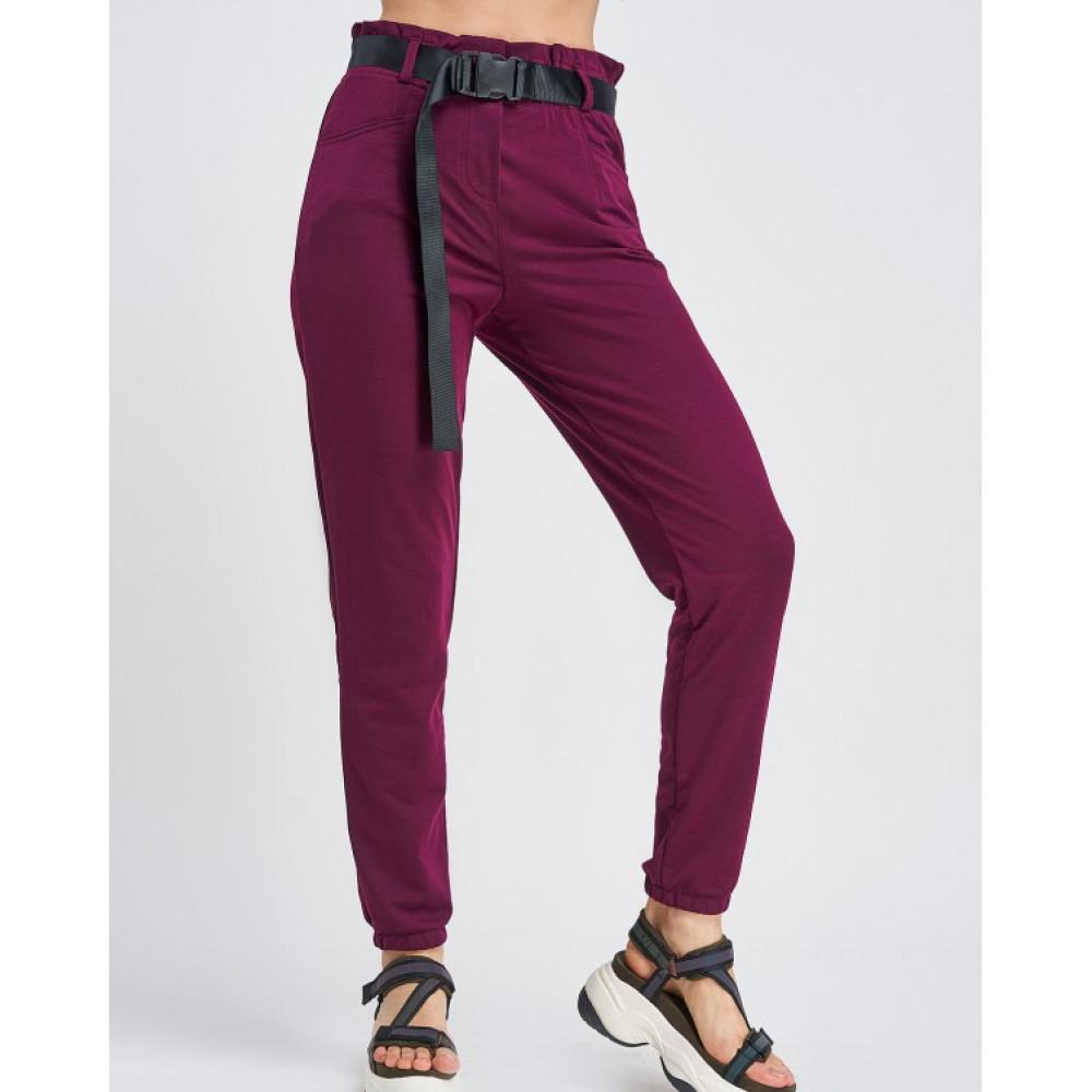 Бордовые штаны с поясом на карабине фото 1