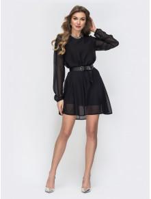 Черное шифоновое мини-платье Петра