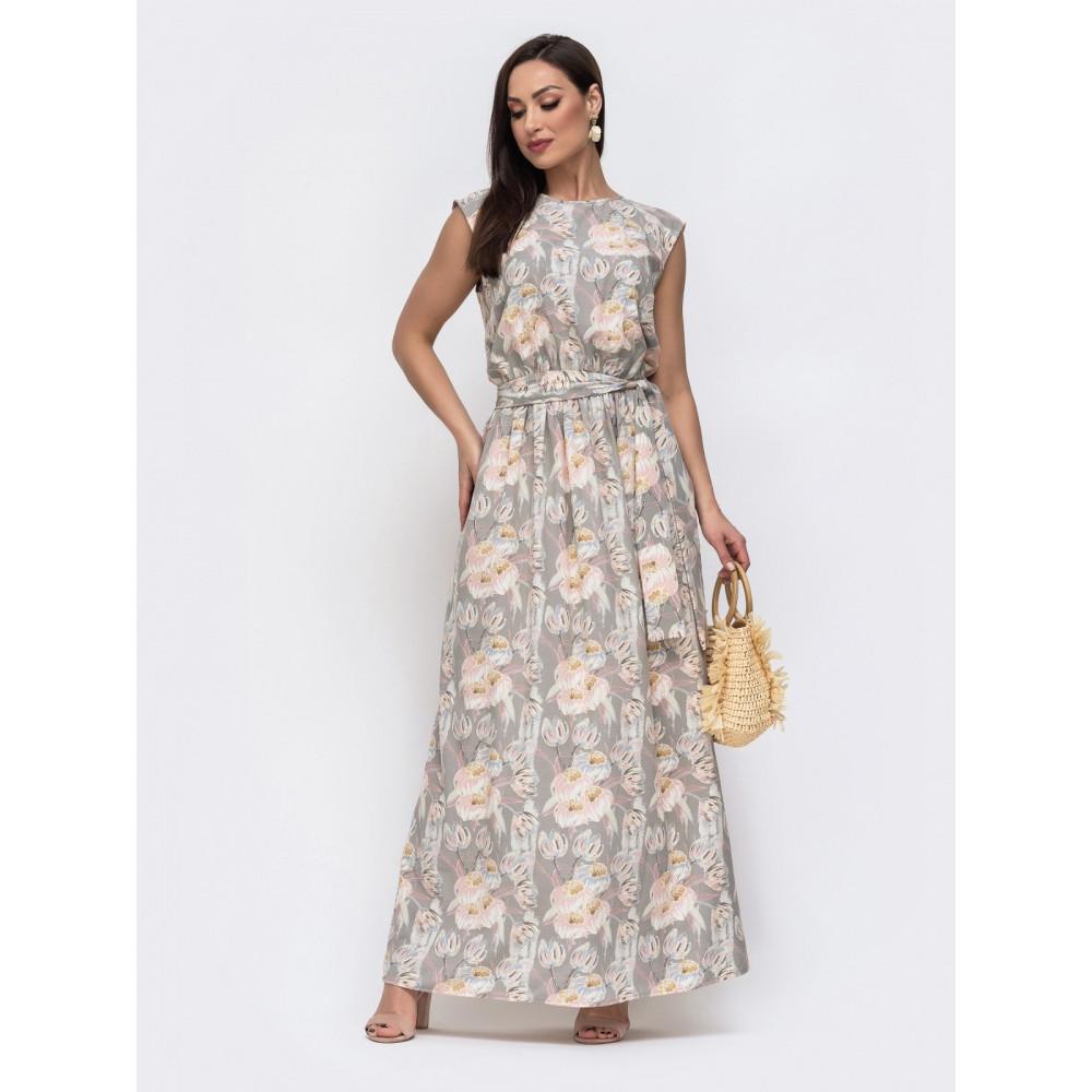 Бежева сукня-максі в великий квітковий принт фото 1