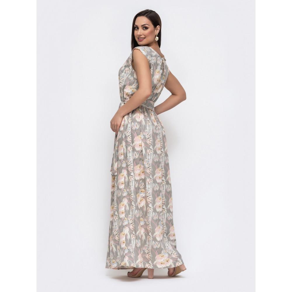Бежева сукня-максі в великий квітковий принт фото 3