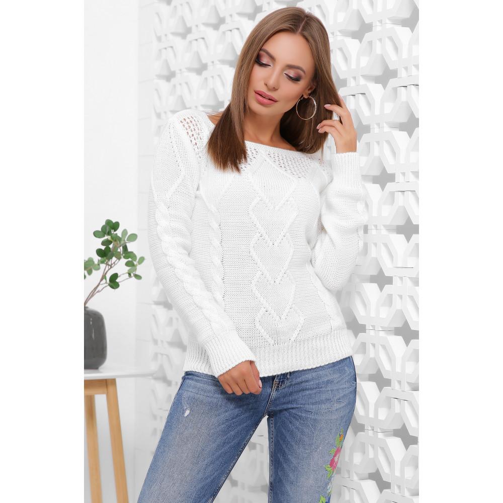 Белоснежный ажурный свитер фото 1