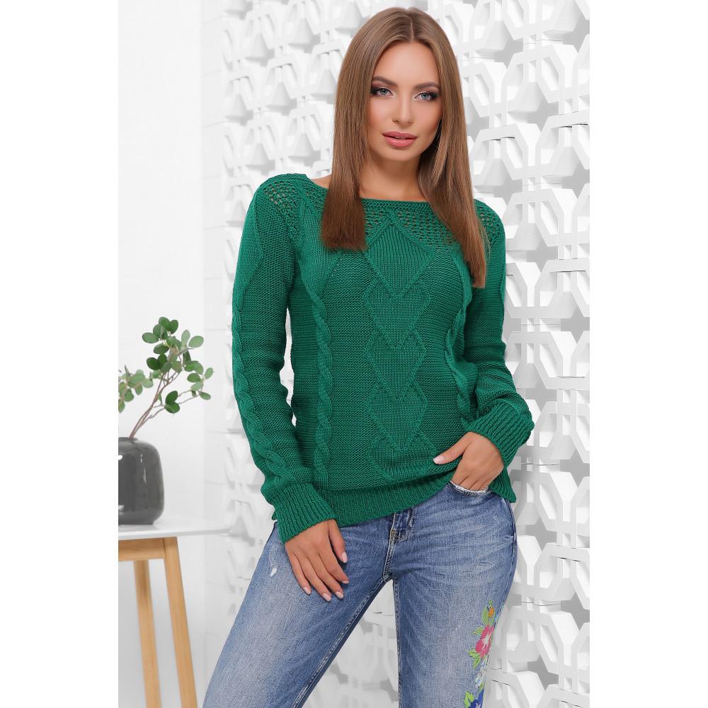 Изумрудный ажурный свитер фото 3