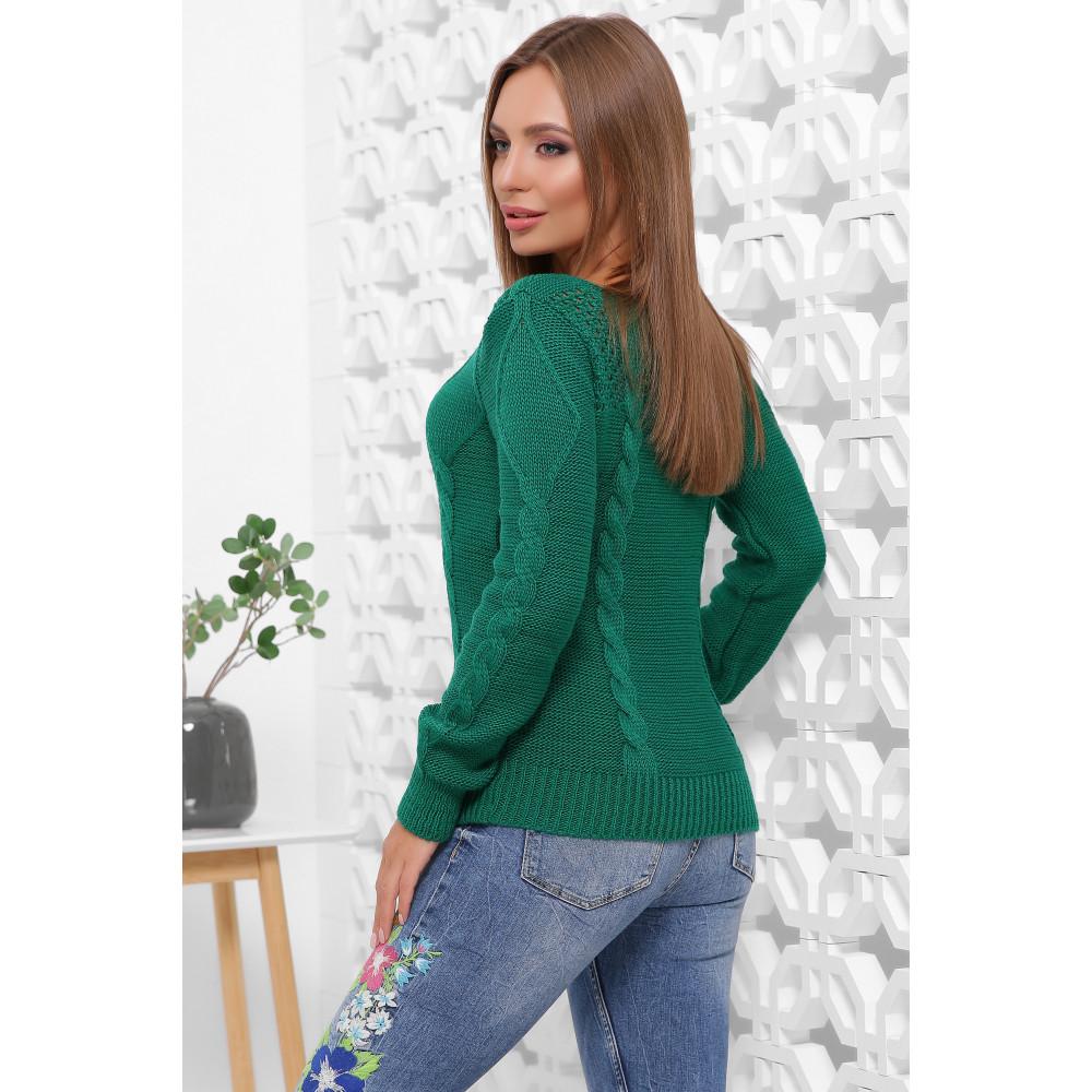 Изумрудный ажурный свитер фото 4