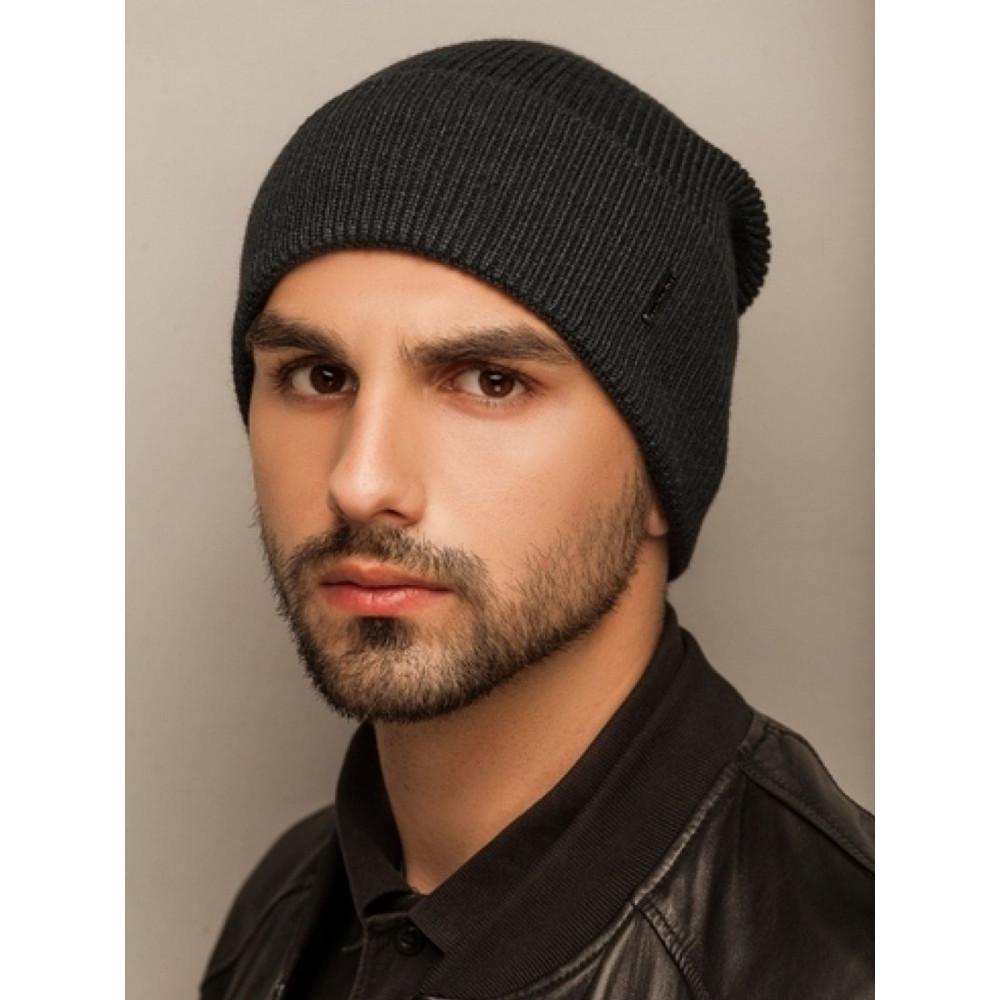 Черная меланжевая мужская шапка Лофт  фото 1