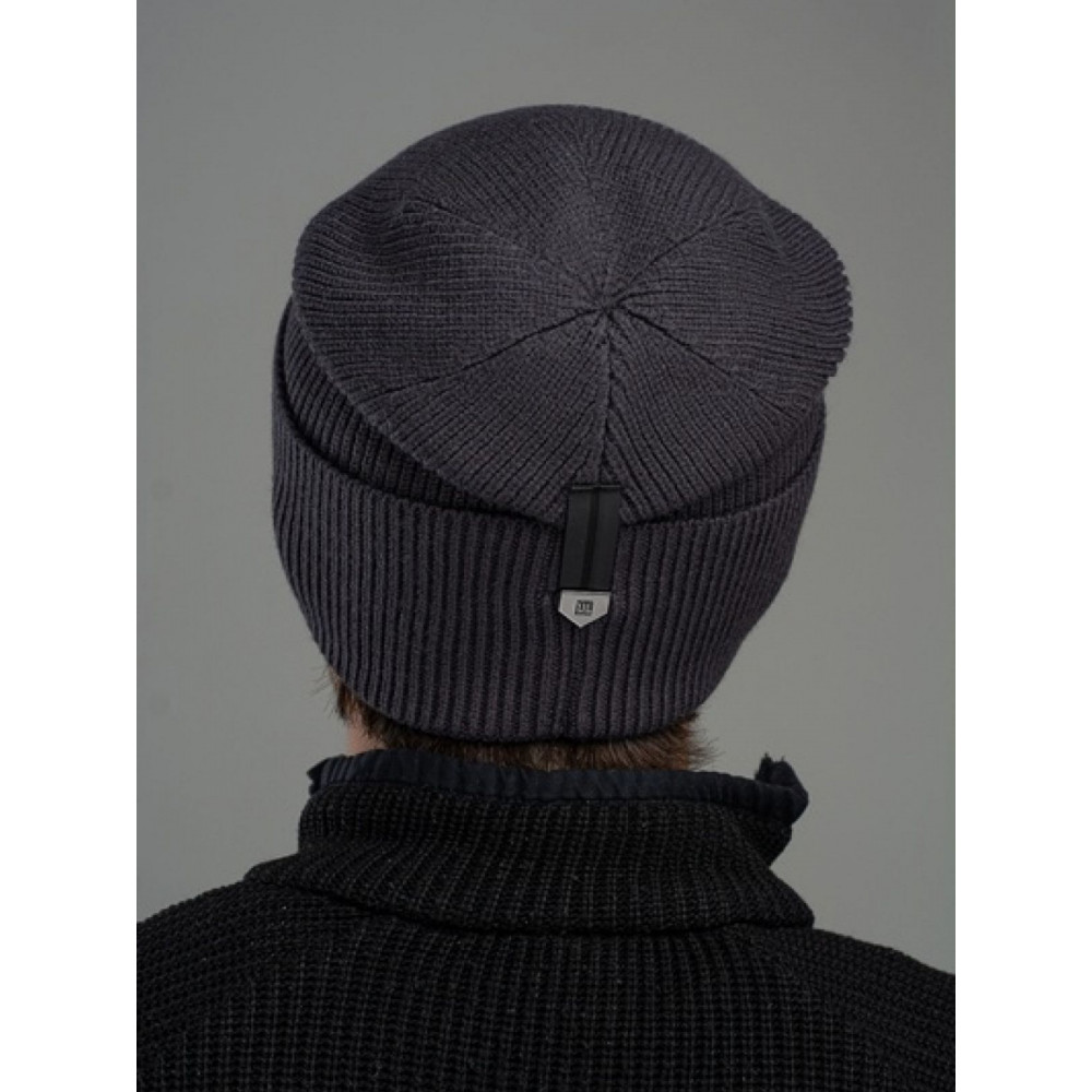 Черная меланжевая мужская шапка Лофт  фото 2