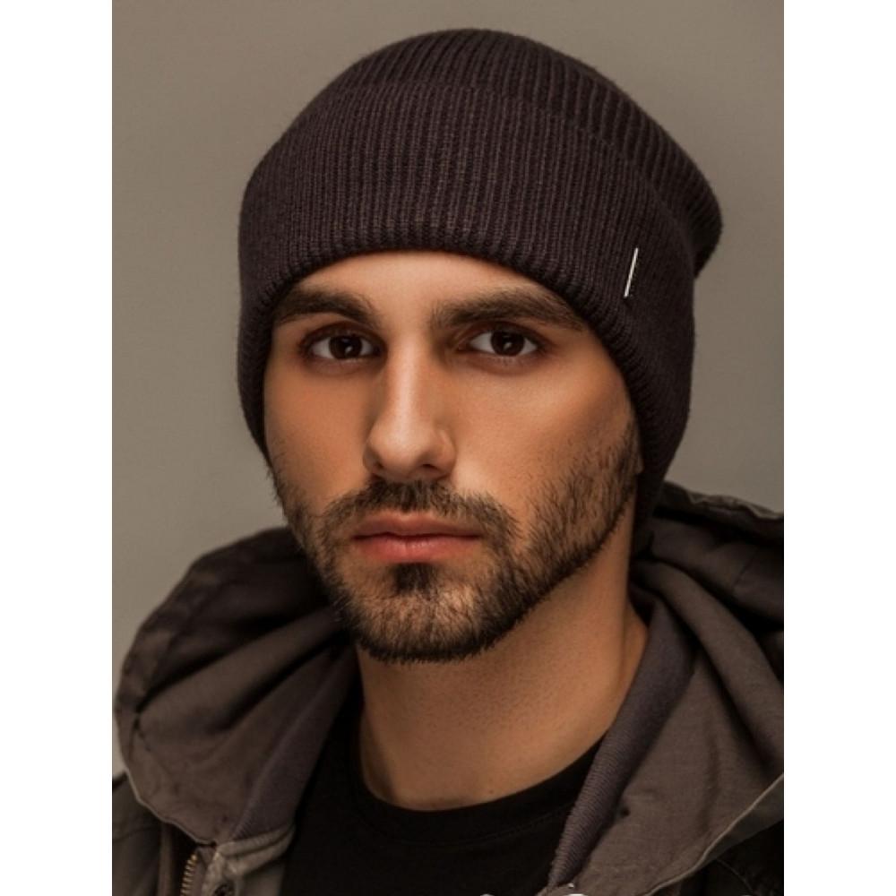 Черная мужская шапка Лофт с манжетом фото 1