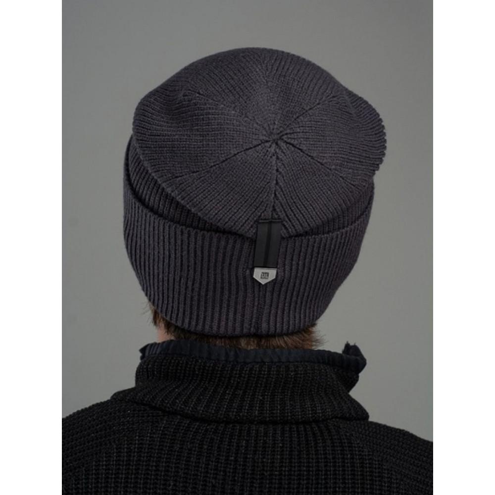 Черная мужская шапка Лофт с манжетом фото 2