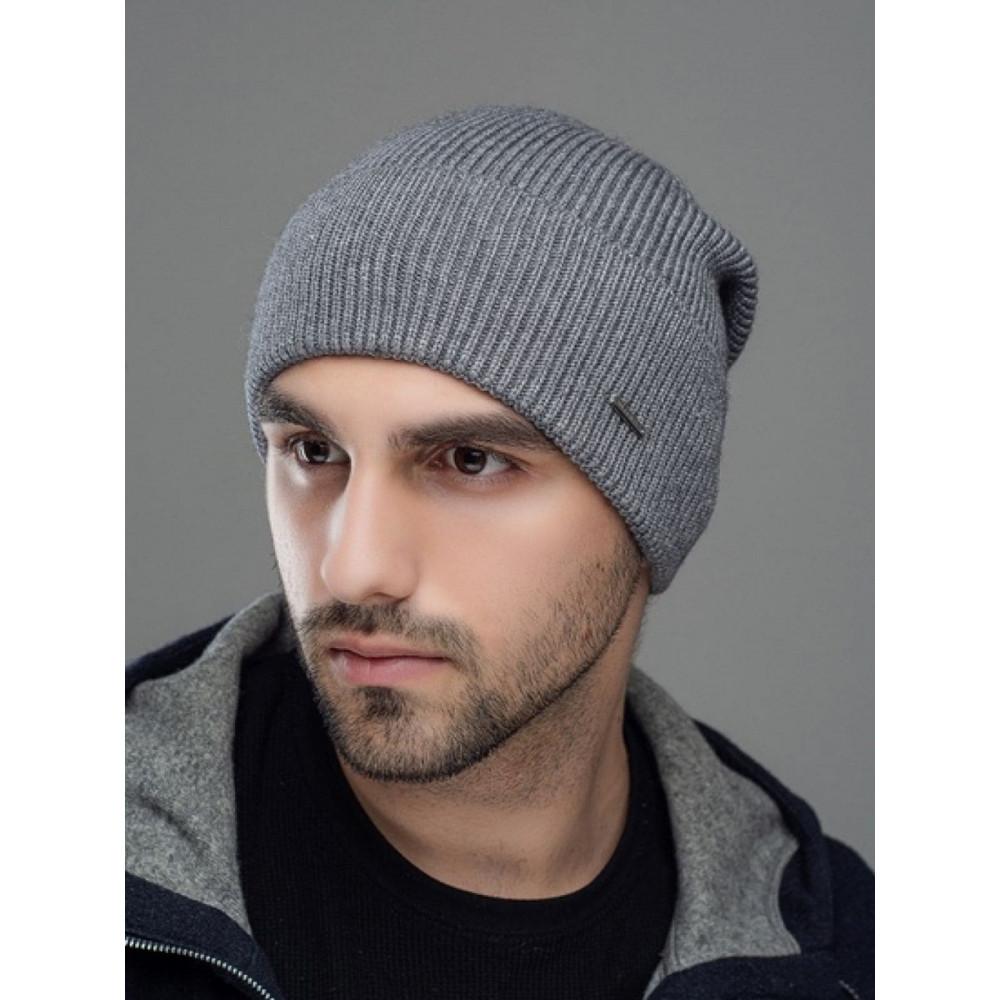 Практичная серая мужская шапка Лофт  фото 1
