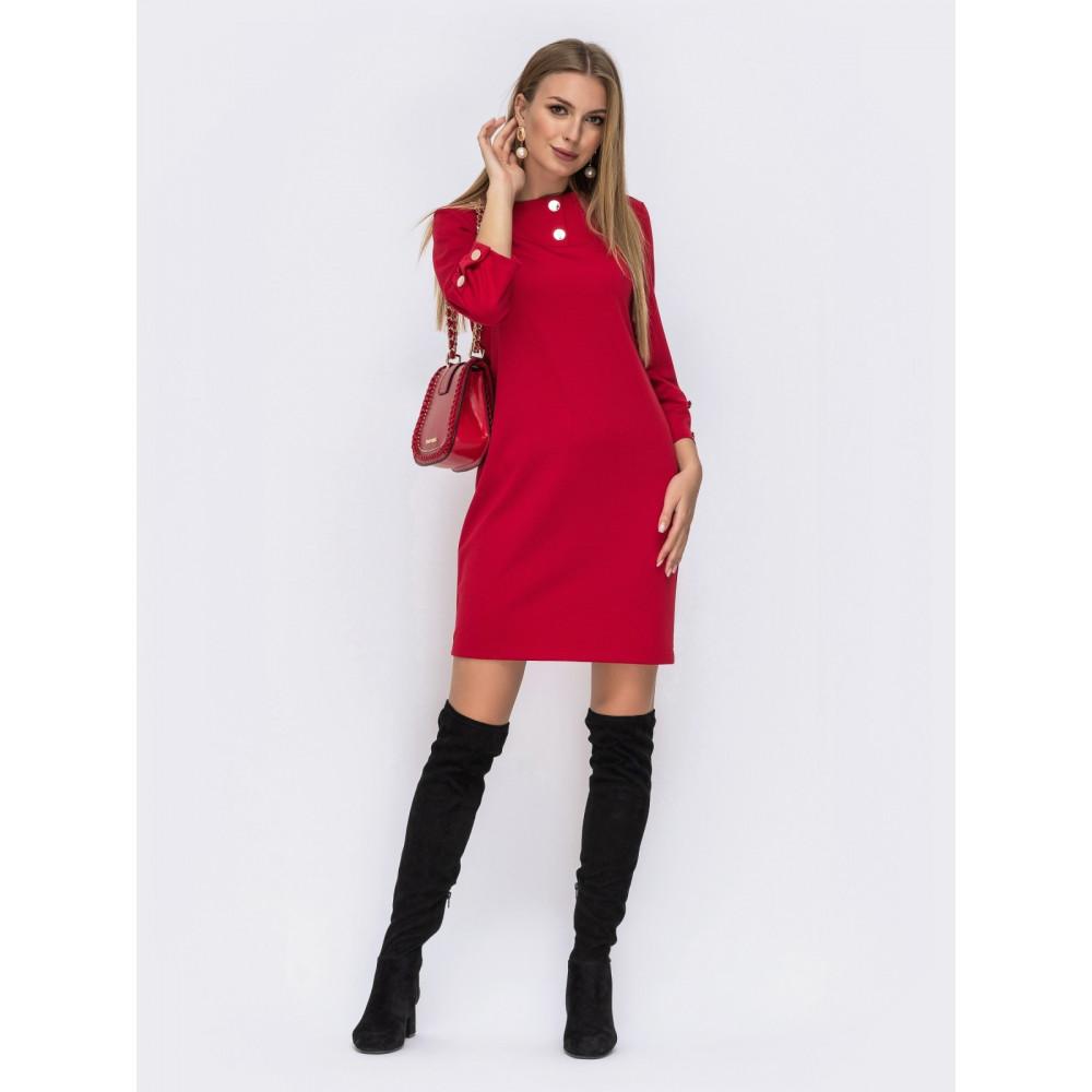 Яскраво-червона сукня-міні з рукавом ¾ фото 1