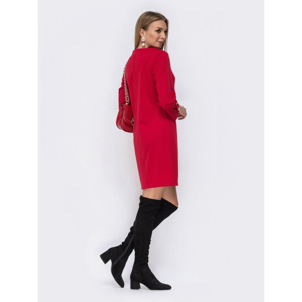 Яскраво-червона сукня-міні з рукавом ¾ фото 3