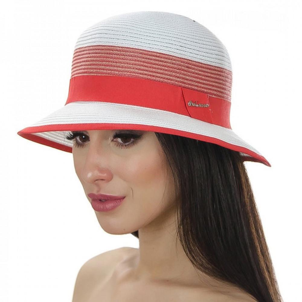 Белая шляпа Ойра с коралловой лентой фото 1