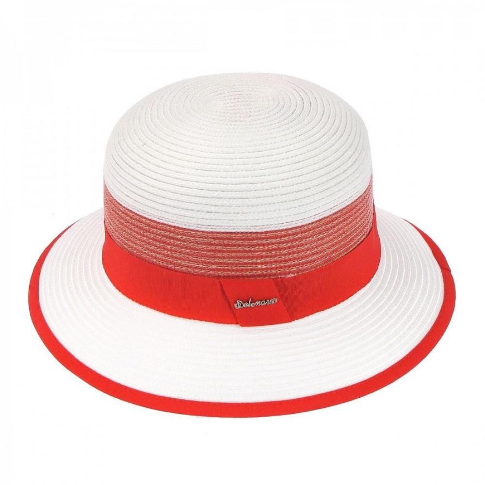 Белая шляпа Ойра с коралловой лентой фото 2