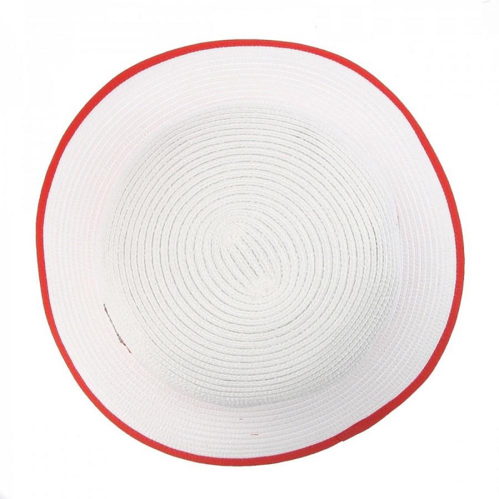 Белая шляпа Ойра с коралловой лентой фото 3