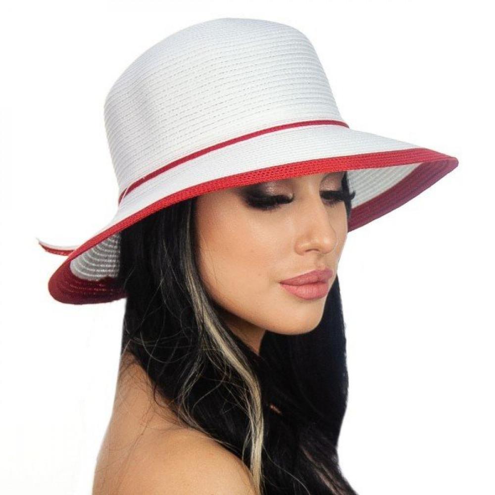 Белоснежная шляпа с ярким акцентом Телса  фото 1