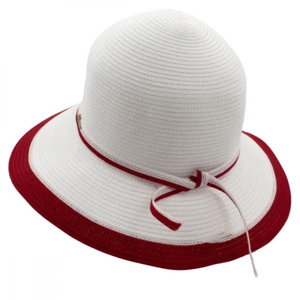 Белоснежная шляпа с ярким акцентом Телса  фото 2