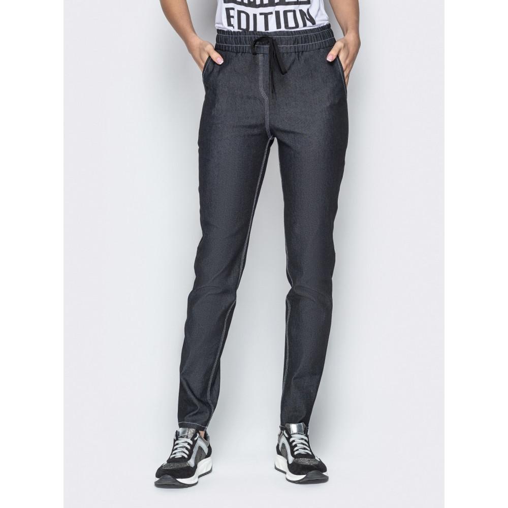 Базовые брюки из облегченного джинса с высокой посадкой фото 1