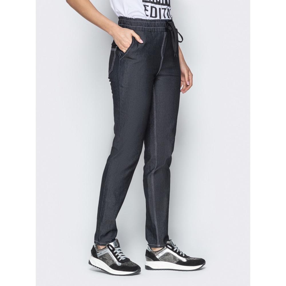 Базовые брюки из облегченного джинса с высокой посадкой фото 2