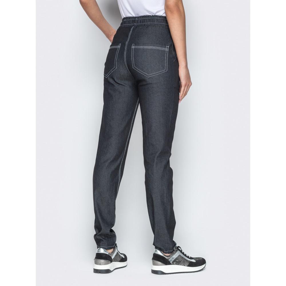 Базовые брюки из облегченного джинса с высокой посадкой фото 3