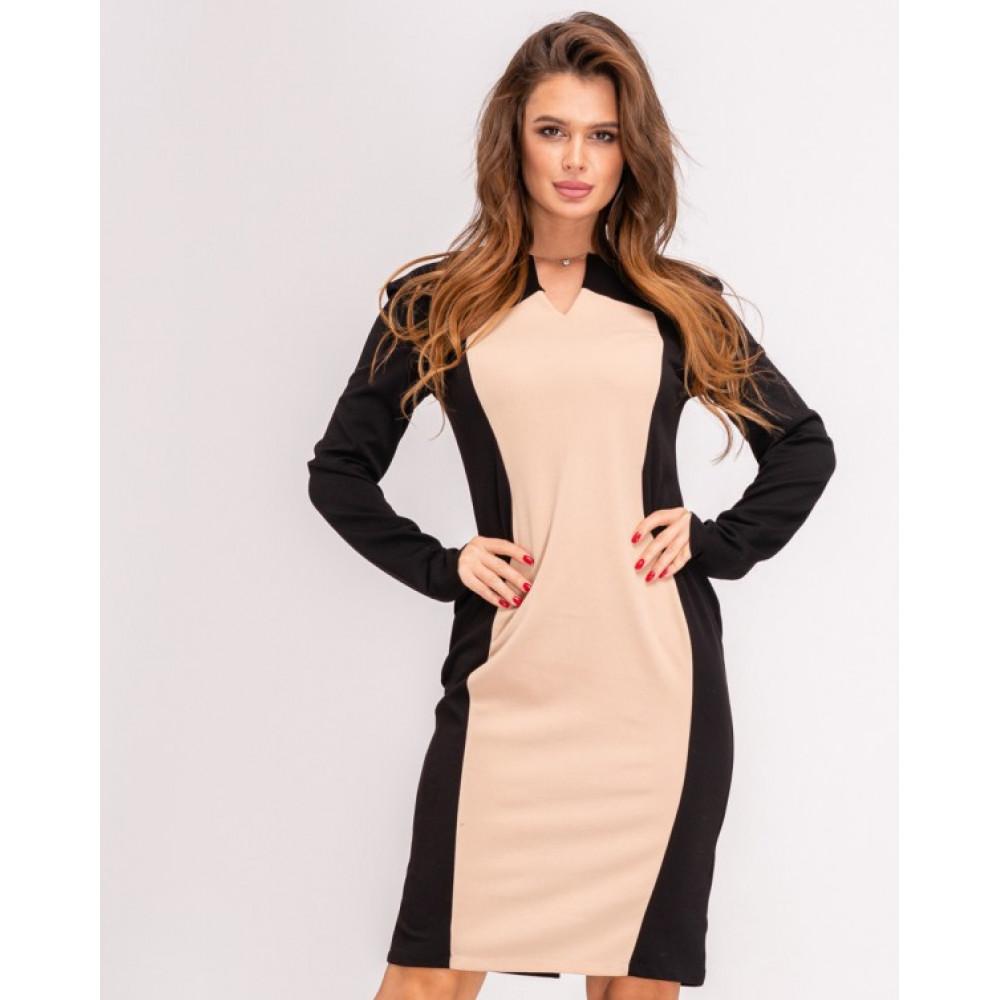 Изумительное платье-футляр с контрастной вставкой фото 3