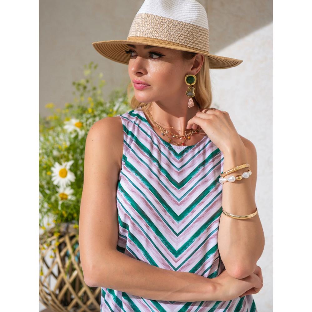Блузка в полоску с кулисками по бокам фото 1