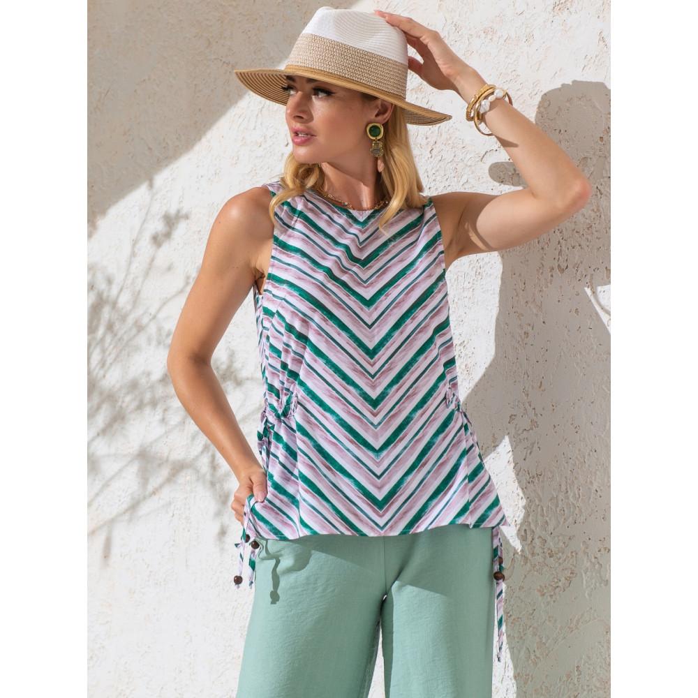Блузка в полоску с кулисками по бокам фото 2