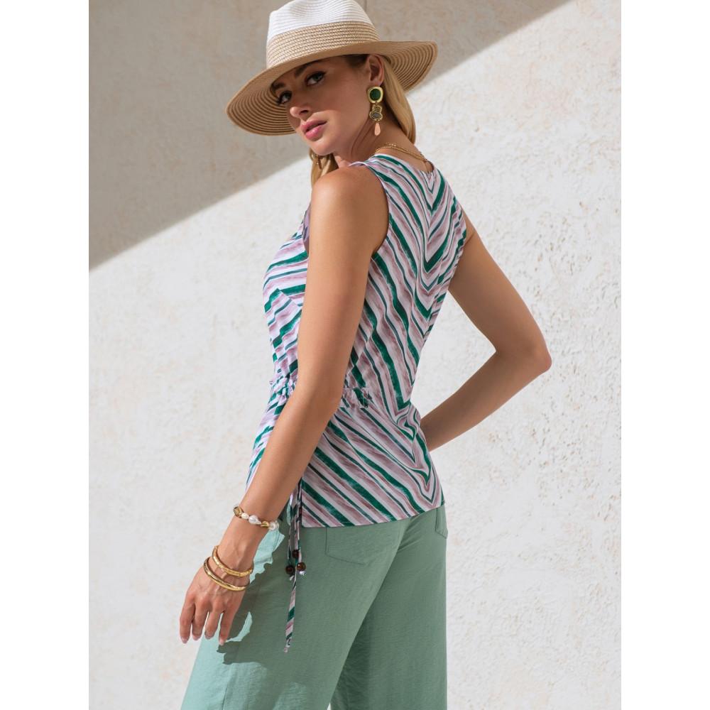 Блузка в полоску с кулисками по бокам фото 3